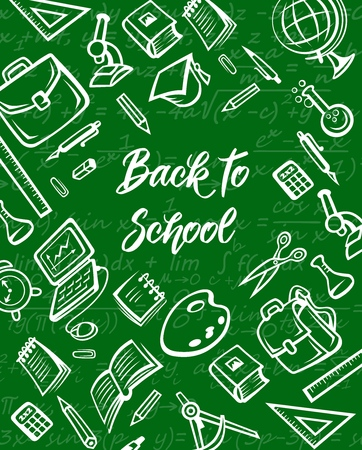 Illustration pour School supplies and education item chalk sketches on green chalkboard, back to school vector design. Student notebook, book and pencil, office stationery, globe and pen, ruler and paint palette - image libre de droit