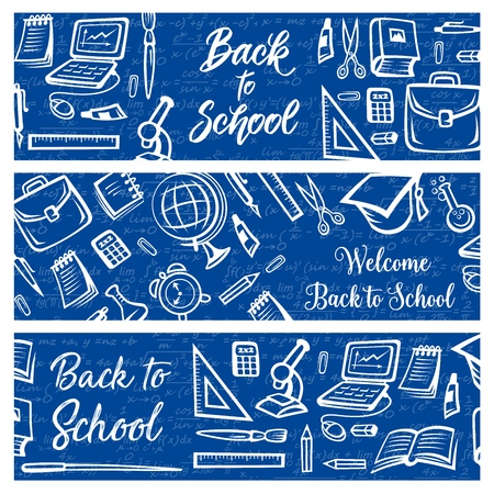 Illustration pour Back to School education and study supplies on algebra mathematics formula pattern background. Vector Welcome Back to School banners with student bag, college graduate cap or laptop computer and clock - image libre de droit
