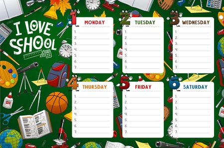 Illustration pour School timetable, week schedule and student classes table weekly template. Vector school timetable with classes supplies, pencils and notebooks, cartoon day numbers on green chalkboard - image libre de droit
