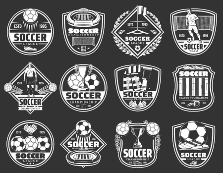 Illustration for Soccer club badges, football team emblems and sport championship cup icons. - Royalty Free Image