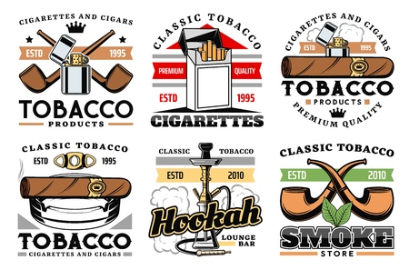 Cigars, cigarettes and premium quality tobacco factory or company labels.
