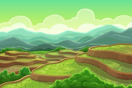 Illustration pour Chinese rice fields in mountain landscape, plantation on cascade field, terraced agriculture. Vector green trees and mountain scenery, asian meadow with plants. Tea plantation in China, Vietnam, India - image libre de droit
