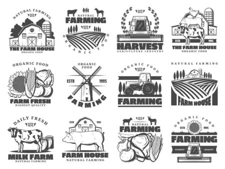 Illustration pour Farm agriculture and cattle industry, farming food production. Vector icons of cattle farm cow and pig animals, poultry chicken, organic vegetables and fruits harvest, farmhouse meat products - image libre de droit