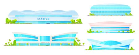 Illustration pour Stadium and sport arena buildings of soccer, football, basketball and baseball, athletic tracks and fields vector icons. Architecture of modern city, sporting constructions with glass facades, lights - image libre de droit