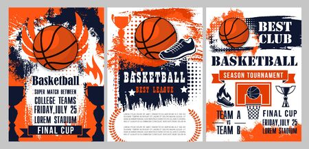 Basketball sport tournament halftone posters with orange balls, winner trophy cups and court with backboard, hoop and basket, team player sneakers, wings and flames. College league competition match