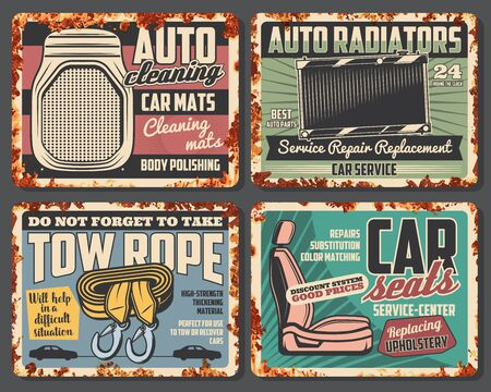Illustration for Car service and auto repair spare parts rusty metal sign boards. Vector vehicle radiator and seats replacement, cleaning mats and tow ropes, retro mechanic garage or workshop design - Royalty Free Image