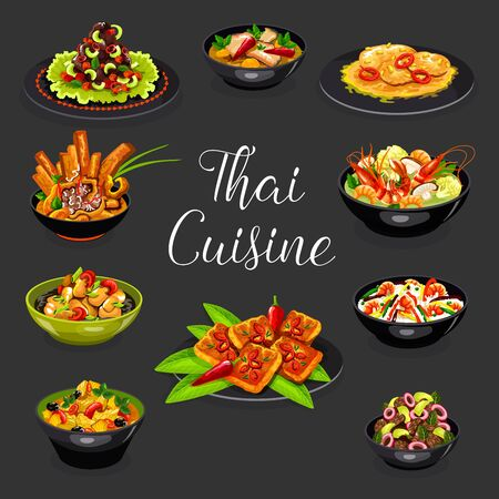 Thai Suicune Vector Design Of Asian Seafood And Meat Dishes