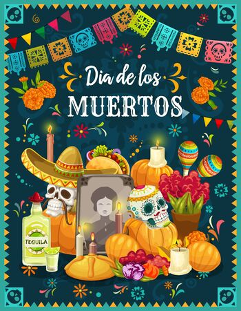 Illustration pour Dia de los Muertos altar with sugar skulls, Mexican Day of the Dead vector design. Tombstone, decorated with skulls in sombreros, maracas and marigold flowers, candles, sweet bun and Halloween pumpkin - image libre de droit