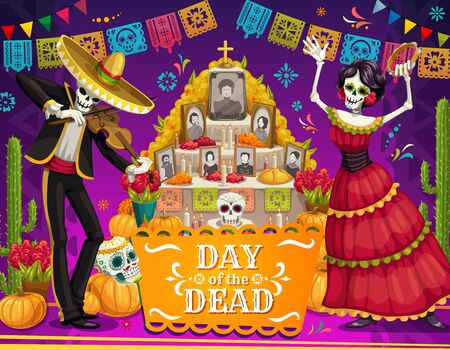 Illustration pour Day of the Dead Mexican holiday dancing skeletons near altar vector greeting card. Mariachi skeleton and Catrina with sombrero, sugar skulls and marigold flowers, cactus and festive bunting garland - image libre de droit