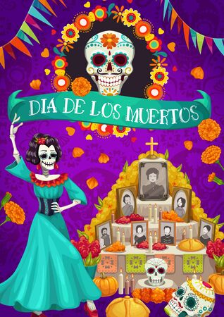 Illustration pour Dia de los Muertos Mexican national holiday and altar with photos of gone people. Vector skull in flower frame, candles and cards with dead. Catrina and garlands of flag, Day of Dead in Mexico - image libre de droit