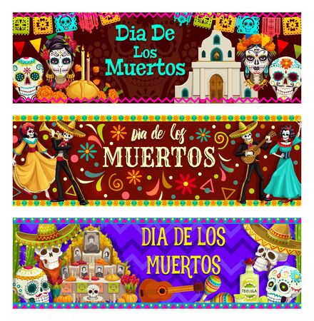 Illustration pour Dia de los Muertos, Mexican day of dead celebration. Vector calavera skulls, catholic church, candles in bread, catrina heads. Dancing skeletons, altar with photos of gone people, guitar and maracas - image libre de droit