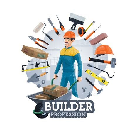 Illustration for Builder profession and frame of work tools. Vector construction industry worker with wheelbarrow, bags of cement. Hard hat and trowel, repair and carpentry items, spanner and hand saw, paint roller - Royalty Free Image
