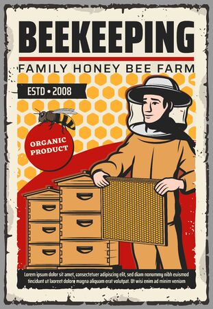 Beekeeping farm with honey bee, beehives and beekeeper vector design. Apiary bee hives, honeycombs and apiarist with beeswax frame, protective suit, hat and mask. Sweet food, apiculture themes