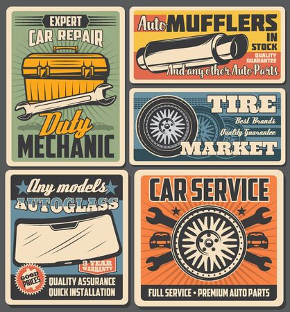 Ilustración de Car service and auto repair vector posters with spare parts and vehicle mechanic toolbox. Automobile wheels, tires and spanners, wrenches, autoglasses and exhaust pipe retro design - Imagen libre de derechos