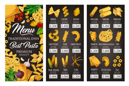 Illustration pour Italian cuisine restaurant vector menu of pasta, spaghetti and macaroni with spices and herbs. Penne, farfalle and fusilli, cannelloni, conchiglie and lasagna, noodle, ravioli and fettuccine dishes - image libre de droit