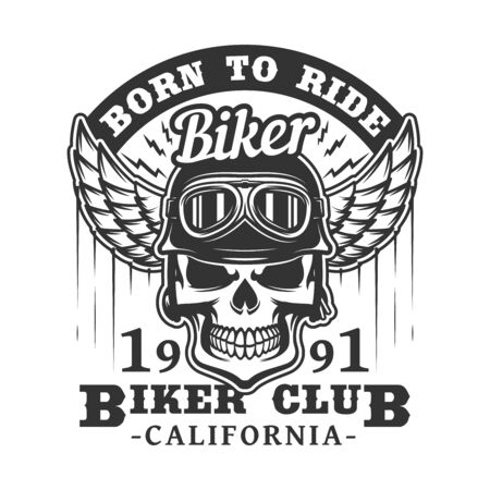 Photo pour Biker club badge of skull in motorcyclist glasses and helmet with wings. Vector retro icon of rocker bikers for t shirt or tattoo emblem, grunge skeleton on motorbike races - image libre de droit