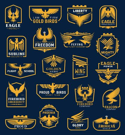 Illustration pour Heraldic eagle icons, business corporate identity signs. Vector heraldic golden hawk and eagle wing of aviation academy, liberty union and flight school, firebird emergency and phoenix company symbol - image libre de droit