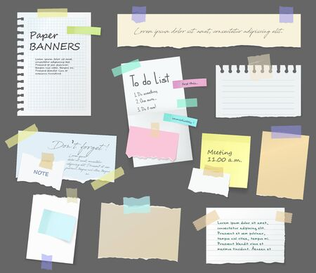 Illustration for Paper notes on stickers, notepads and memo messages torn paper sheets. Vector blank sticky notepaper posts of meeting reminder, to do list and office notice or information board with appointment notes - Royalty Free Image
