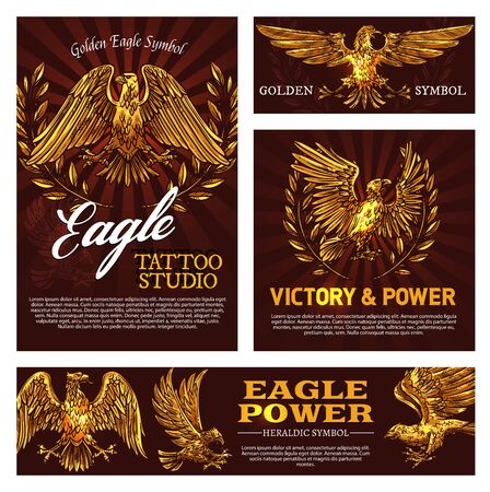 Illustration pour Golden eagle symbol of victory and power heraldry sign. Vector tattoo studio emblem with mascot bird, heraldic falcon and laurel branches. Flying feathered animal legendary beast symbolizing strength - image libre de droit