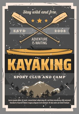 Kayaking sport, canoeing, rafting boat, crossed paddle summer sport. Vector paddling outdoors activity, kayaks vintage club and camp. Kayak diving, fishing and travel, whitewater and surf kayaking