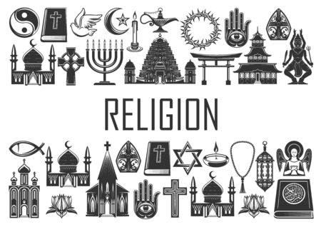 Illustration pour Religion, religious icons and symbols of Christianity, Islam and Buddhism. World religion signs of Catholic or Orthodox church, Shinto and Judaism, Muslim mosque, Jewish synagogue and Sikhism temple - image libre de droit