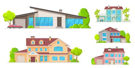 Illustration pour Houses, mansions and residential real estate building icons. Vector family homes, cottage houses or villa, apartments, urban property with terraces and garages - image libre de droit