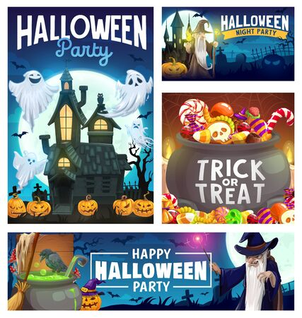 Illustration pour Halloween party vector design with ghosts, pumpkins and trick or treat candies, bats, moon and haunted house, evil wizard, black magic wand and witch potion cauldron. Invitation flyer or greeting card - image libre de droit