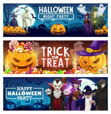 Illustration pour Halloween trick or treat candy, horror pumpkin and creepy monster vector banners. Scary ghosts, bats and witch, spider net, vampire and haunted house with graveyard, skeleton skull, zombie and wizard - image libre de droit