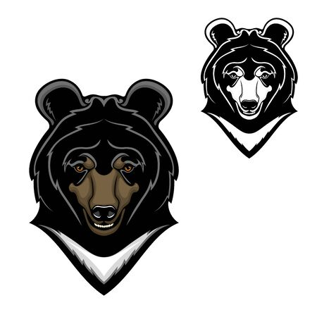 Illustration pour Bear animal head vector cartoon of Himalayan bear mascot design. Wild predatory mammal with white chest, long snout and teeth, mountain forest wildlife - image libre de droit