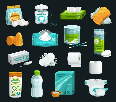 Illustration pour Hygiene product icons of personal care. Vector shampoo, soap and sponge, cotton wool balls, pads and swabs, wet wipe, paper napkin and toilet paper, tampon, micellar water, washing powder and diaper - image libre de droit