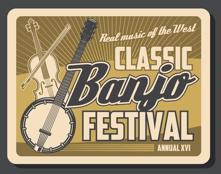 Photo pour Musical instruments of classic and folk music retro poster with vector banjo, violin and bow. Music festival, live concert or ethnic show design - image libre de droit