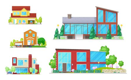 Illustration pour Cottages and real estate house isolated buildings. Vector homes, facades exterior design with trees. Garage with car, stairs and street lamps. Windows and entrance door, modern architecture - image libre de droit