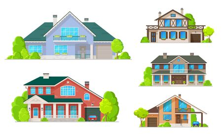 Illustration pour House building icons of village homes and cottages, villas and mansions vector design. Real estate and architecture, exterior of double storey houses with windows, facades and doors, roofs and garages - image libre de droit