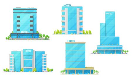 Illustration for Hotel building vector icons of city house modern exteriors. Town skyscrapers, motels and rent appartments with glass and steel facades, luxury entrances, windows and balcony. Hospitality industry - Royalty Free Image