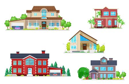 Illustration pour Home and house building vector icons of village cottages with roofs, doors and windows, garages, chimneys, garden trees and green grass. Real estate, architecture and construction industry themes - image libre de droit