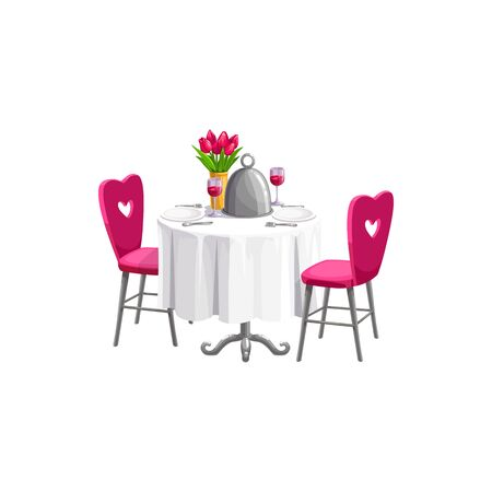 Illustration pour Romantic table served by plates, wineglasses and flowers isolated. Vector Valentines day dinner - image libre de droit