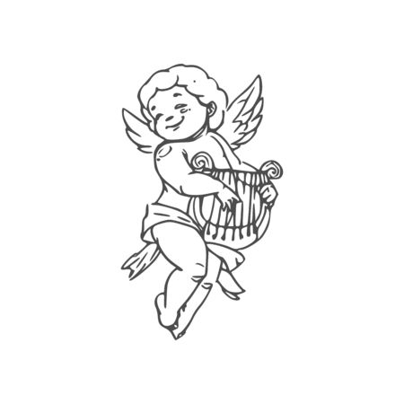 Illustration for Naked boy in diaper playing on harp isolated Cupid. Vector outline winged Amur with musical instrument - Royalty Free Image
