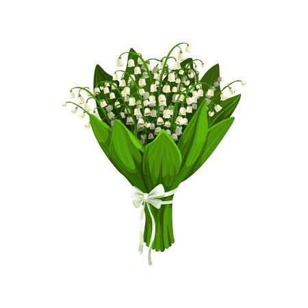 Illustration pour Bouquet of lilies of the valley isolated spring flowers. Vector bunch of spring-flowering plants - image libre de droit