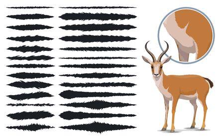 Illustration pour Animal fur brush strokes, design elements texture set. Vector templates of thin and thick fur texture paint brush strokes with rough edges pattern, design presets - image libre de droit