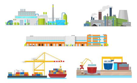 Illustration pour Industrial building vector icons. Exteriors of power station, oil refinery plant and manufacturing factory facilities, warehouse, port and shipyard with chimneys, smoke pipes, containers and ships - image libre de droit