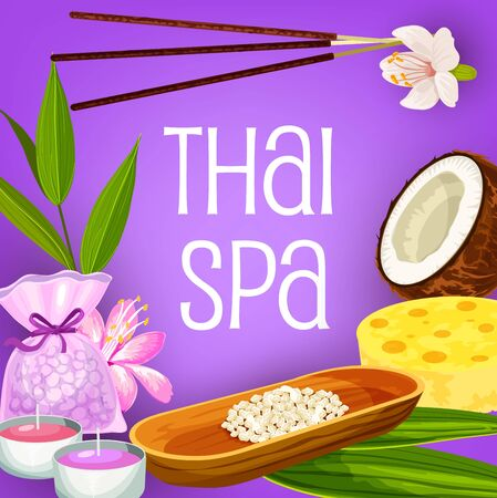 Illustration pour Thai spa, massage and beauty salon vector design of health therapy. Aromatherapy treatments, candles and incense sticks, bath salt, sponge and orchid flowers, coconut oil and leaves of exotic palm - image libre de droit
