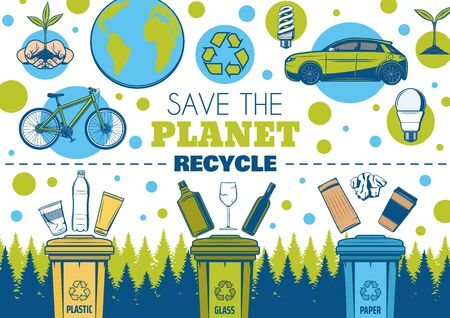 Illustration pour Save Earth and recycle vector design of ecology and environment. Recycling symbol, eco green planet and energy saving light bulbs, plant in hands, recycle bins, sorted waste of plastic, glass, paper - image libre de droit