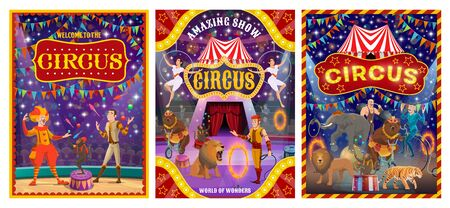 Illustration pour Circus show performers at arena of cirque tent vector design. Acrobats, clown and juggler, trained animals, strongman and tamer, carnival flags and amusement park marquees. Entertainment themes - image libre de droit