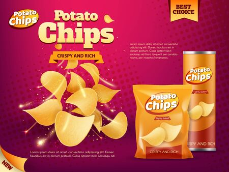 Illustration for Potato chips advertising of snack food vector design. Realistic packages of crisps, foil bag and paper tube box with crunchy slices of deep fried potato vegetable, spices and salt, junk food promotion - Royalty Free Image