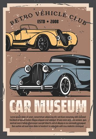 Illustration pour Vintage old cars show and rarity motors museum, retro vehicle vector posters. Old timer transport restoration and tuning service, auto center and mechanic garage station - image libre de droit