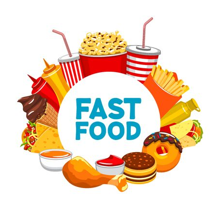 Illustration for Fastfood banner, isolated round frame of takeaway food and drinks. Vector restaurant menu template, cola or soda, french fries, ketchup and donuts. Chicken leg and ice cream, burritos and pop corn - Royalty Free Image