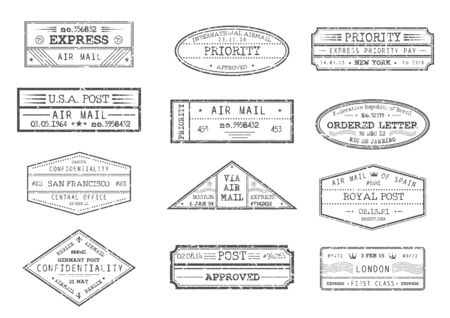 Illustration pour Airmail postage and post office stamps with city and date, vector icons. Express delivery, ordered letter and priority confidential stamps from New York USA America, Barcelona Spain and London Britain - image libre de droit