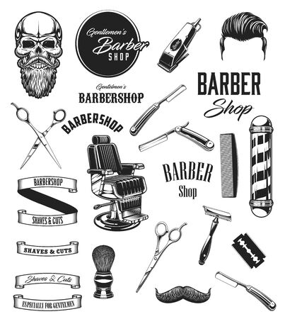 Illustration pour Barber shop vintage vector icons, barbershop mustaches and beard shave salon symbols. Barber equipment tools, scissors and hipster skull, razors, shaving brush and hair dryer, chair and pole signage - image libre de droit