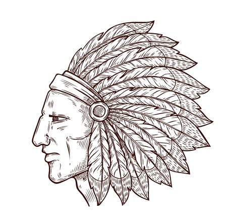 Illustration pour Indian chief head and traditional eagle feathers headdress, sketch engraving icon. Vector Western and native American tribe culture symbol of Indian chief warrior, monochrome icon - image libre de droit