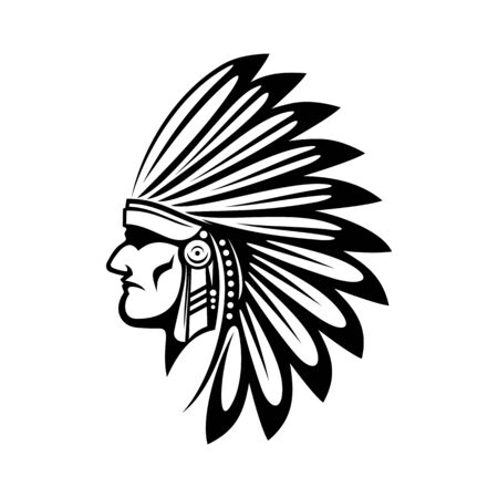 Illustration pour Native american indian in feathered headdress isolated head. Vector tribal chief in feather hat - image libre de droit